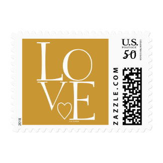 Gold White Love Fall Wedding Postage
