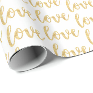 Gold White Love Wrapping Paper
