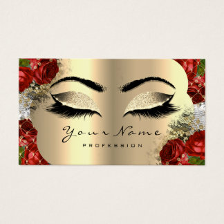 Gold White Makeup Artist Lash Floral Red Roses Lux Business Card