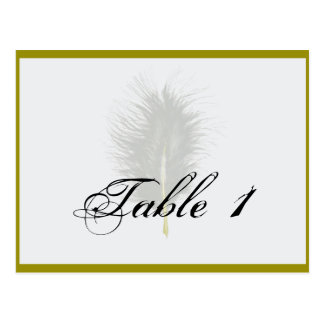 Gold White Marabou Feather Wedding Table Number Postcards
