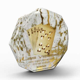 gold white marble playing cards award