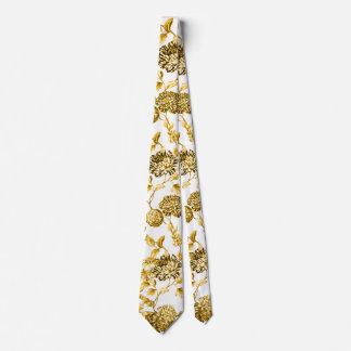 Gold & White Modern Botanical Floral Toile Tie