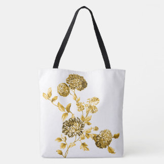 Gold & White Modern Botanical Floral Toile Tote Bag