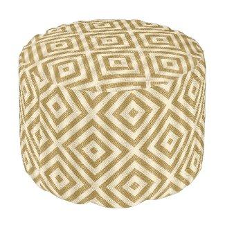 Gold & White Modern Geometric Pattern Round Pouf