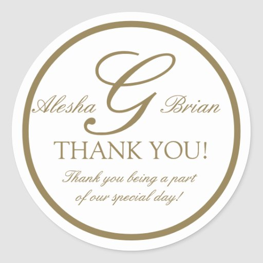 gold white monogram g wedding favour stickers zazzle