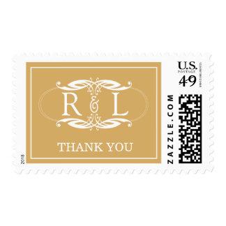 Gold & White Monogram Thank You Postage