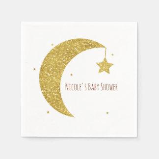 Gold & White Moon & Stars Baby Shower Paper Napkin