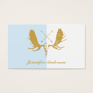 Gold & White Moose Head with Arrows Skull Business Card