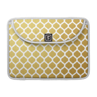 Gold & White Moroccan Pattern Macbook Pro Sleeve