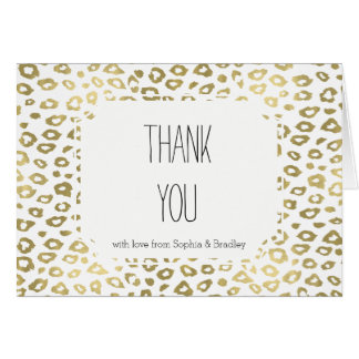 Gold White Ombre Leopard Print Thank you Card