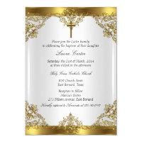 Gold White Pearl Damask Cross Baptism Christening Card