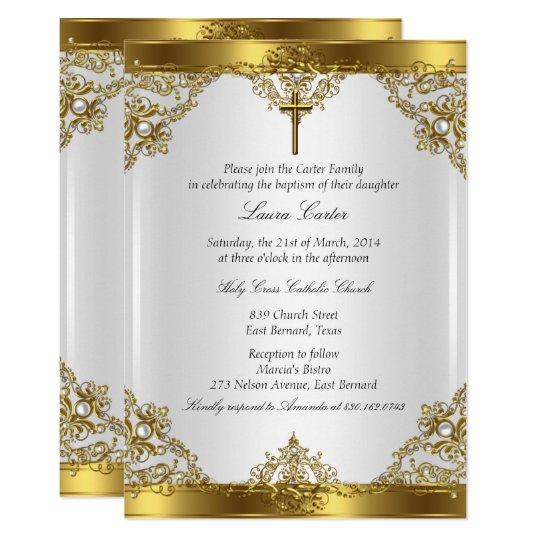 Gold White Pearl Damask Cross Baptism Christening Invitation
