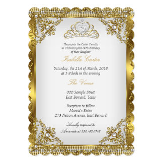 Gold White Pearl Lace Damask Tiara Birthday Party 5x7 Paper Invitation Card