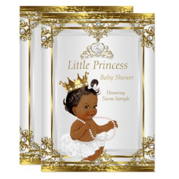 Toddler & Baby themed Gold White Pearl Princess Baby Shower Ethnic Card