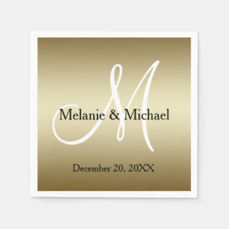 Gold White Personalized Wedding Paper Napkins
