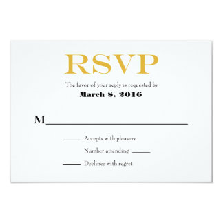 Gold White Plain Simple Wedding RSVP Cards
