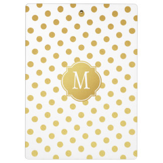 Gold & White Polka Dot Monogram Clipboard