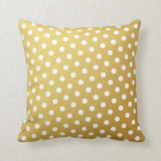 Gold & White Polka Dot Pattern Throw Pillows
