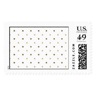 Gold White Polka Dots Golden Dots Elegant Design Postage Stamp
