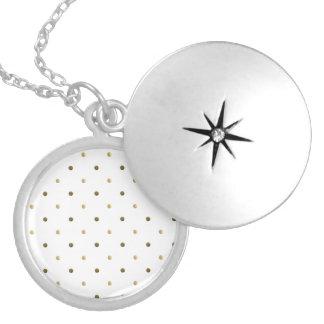Gold White Polka Dots Golden Dots Modern Design Round Locket Necklace