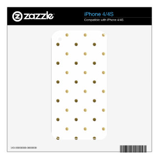 Gold White Polka Dots Golden Dots on White Decal For iPhone 4