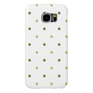 Gold White Polka Dots Golden Dots on White Samsung Galaxy S6 Case