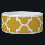 "Gold White Quatrefoil Moroccan Pattern Bowl<br><div class=""desc"">Customizable gifts printed with modern trendy patterns.</div>"