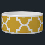 """Gold White Quatrefoil Moroccan Pattern Bowl<br><div class=""""desc"""">Customizable gifts printed with modern trendy patterns.</div>"""