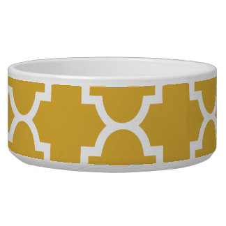 Gold White Quatrefoil Moroccan Pattern Bowl