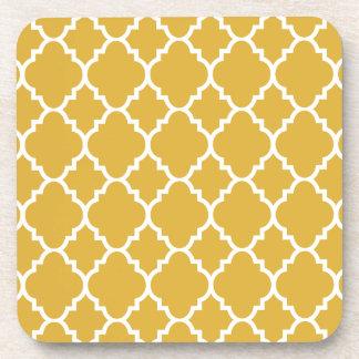 Gold White Quatrefoil Moroccan Pattern Drink Coaster