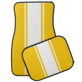 Gold & White Racer Stripe Car Mats