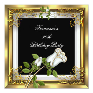Gold White Roses Elegant Womans Birthday Party 2 Card