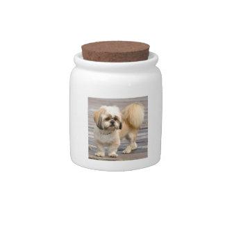 Gold & White Shih Tzu Candy Jar