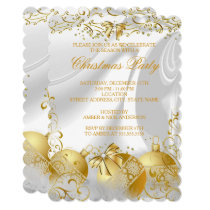 Gold White Silk Bow Bauble Christmas Party Invitation