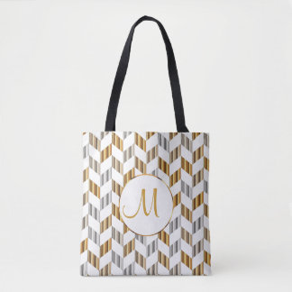 Gold, White & Silver Chevron Monogram Design Tote Bag
