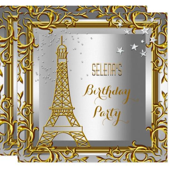 Gold White Silver Eiffel Tower Birthday Party Invitation