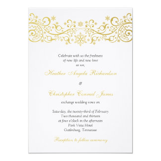 Gold White Snowflake Floral Wedding Invitation