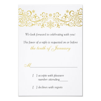 Gold White Snowflake Floral Wedding RSVP Reply Card