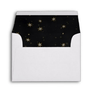 Gold White Stars Black BG A2 5 6 x 4 1 8 Envelope