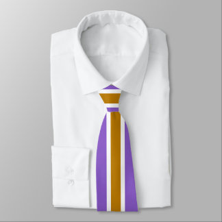 Gold White Stripe on Ultra Violet or (Your Color) Tie