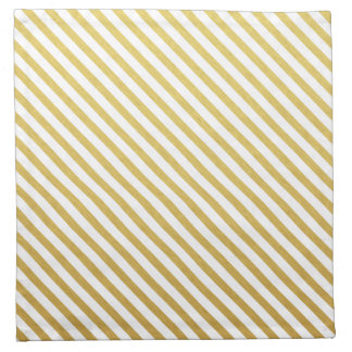 Gold & White Striped Pattern Napkin