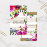 Gold White Stripes Bold Glam Floral Refer a Friend Business Card