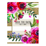 Gold White Stripes Bold Glam Floral Save the Date Postcard