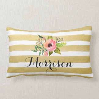 Gold White Stripes Chic Watercolor Flower Monogram Lumbar Pillow
