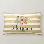Gold White Stripes Chic Watercolor Flower Monogram Throw Pillow