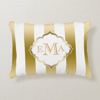 Gold & White Stripes Geometric Pattern Accent Pillow