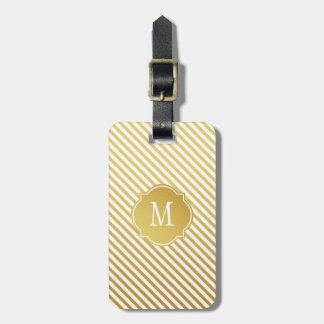 Gold & White Stripes Monogram Luggage Tag