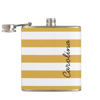 Gold White Stripes Pattern Black Custom Name Hip Flask