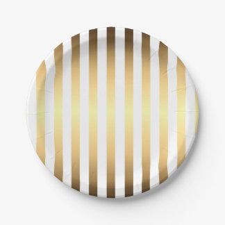 Gold White Stripes Pattern Paper Plate