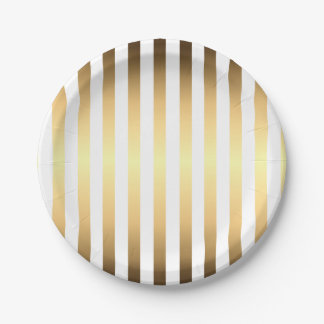 Gold White Stripes Pattern 7 Inch Paper Plate